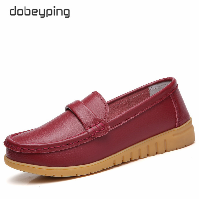 Image 2 - dobeyping New Genuine Leather Shoes Woman Slip On Women Flats Moccasins Women's Loafers Spring Autumn Mother Shoe Big Size 35 44-in Women's Flats from Shoes