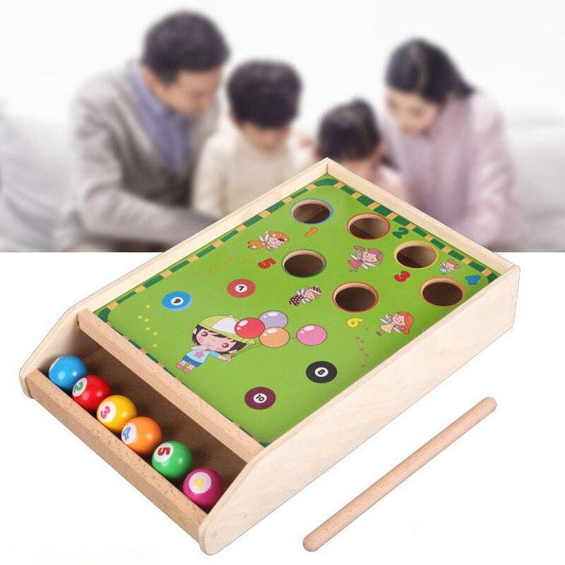 Mini billard en bois jeu de Table de billard 1 bâton + 6 balles amusant Sport jeu jouets éducatifs cadeau d'anniversaire pour enfants en bas âge enfants