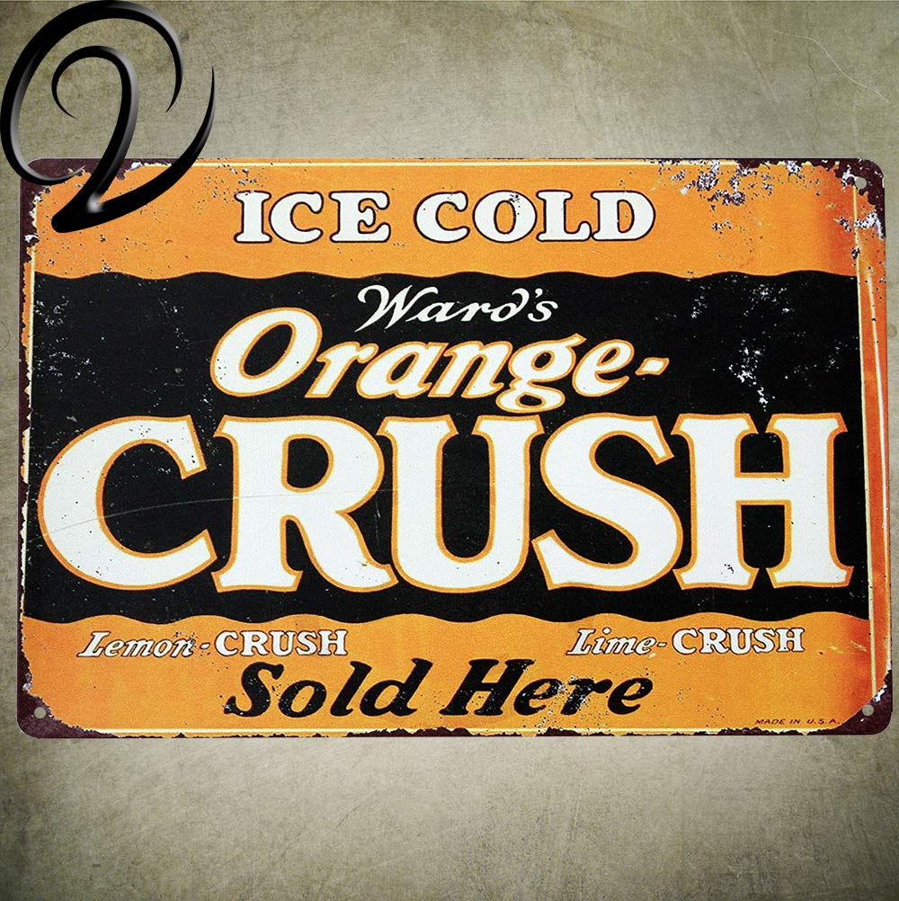 US $6 24 48% OFF|Ice Cold Orange Crush Tiki Bar Bloody Mary Beer Tin Signs  Wall Decor Crafts Poster Vintage Tin Sign Home Kitchen Decor-in Plaques &