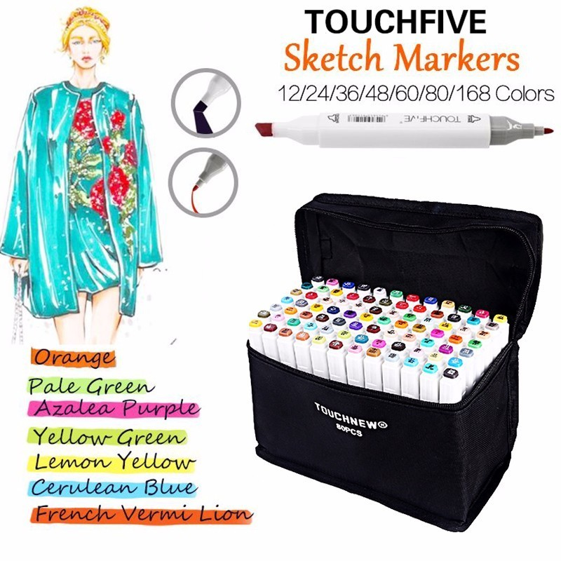 TOUCHFIVE Marker 80 Colors Drawing Marker Pen Animation Sketch Markers Set For Artist Manga cohol Based Marker Brush supplies touchnew 80 colors artist dual headed marker set animation manga design school drawing sketch marker pen black body