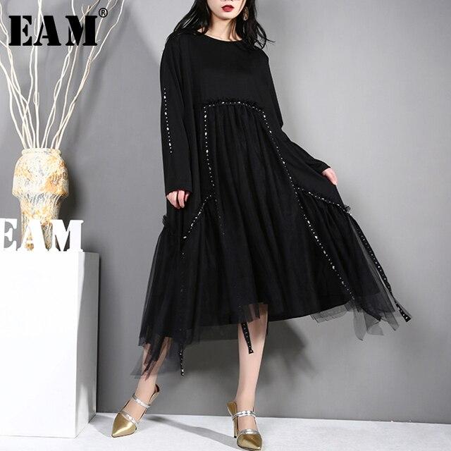 [EAM] 2019 New Spring Summer Round Neck Long Sleeve Black Irregular Hem Mesh Split Joint Loose Dress Women Fashion Tide JL25