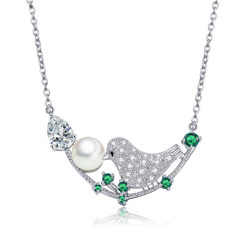 4926c3f96071 Moda femenina collar joyería encantadora genuino plata esterlina 925 collar  de cadena simulado perla colgante regalo romántico para las niñas