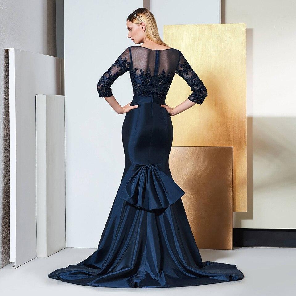 Image 2 - Dressv elegant scoop neck 3/4 sleeves lace evening dress beading floor length wedding party formal gown dress evening dresses-in Evening Dresses from Weddings & Events