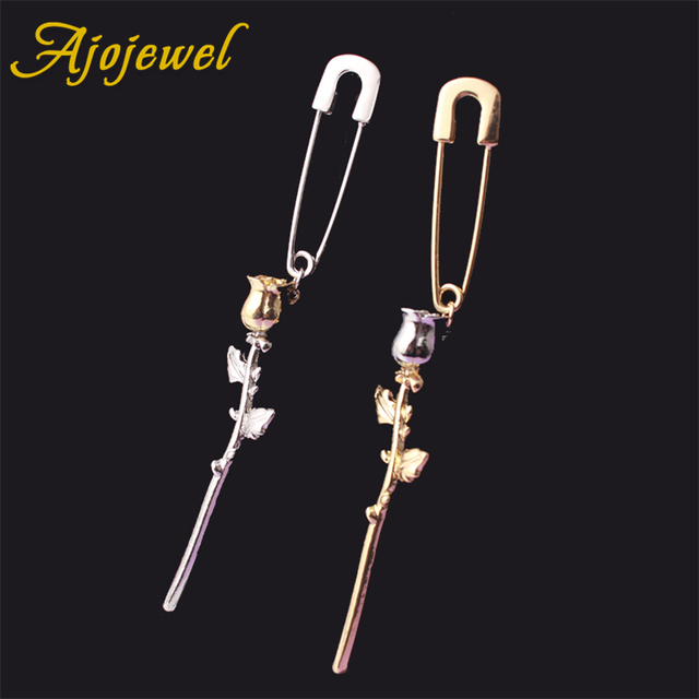 Ajojewel Simple Style Single Rose Flower Safety Pin Earrings Women Costume  Jewelry 2018 New Arrival Gifts 9c68e122327d