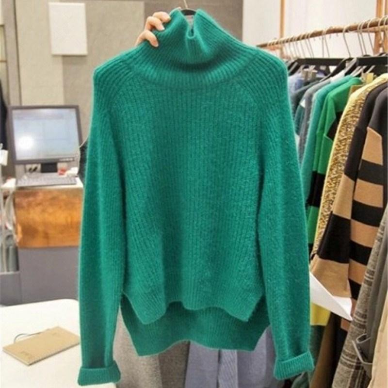 New Autumn Winter High Neck Women Casual Knitted Sweaters Turtleneck Korean Loose Long Sleeve Split Asymmetrical Pullovers