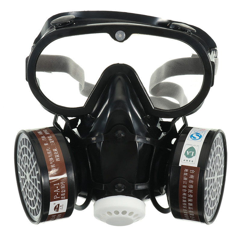 Safurance Respirator Gas Mask Safety Chemical Anti-Dust Filter Military Eye Goggle Set Workplace Safety Protection new safurance protection filter dual gas mask chemical gas anti dust paint respirator face mask with goggles workplace safety
