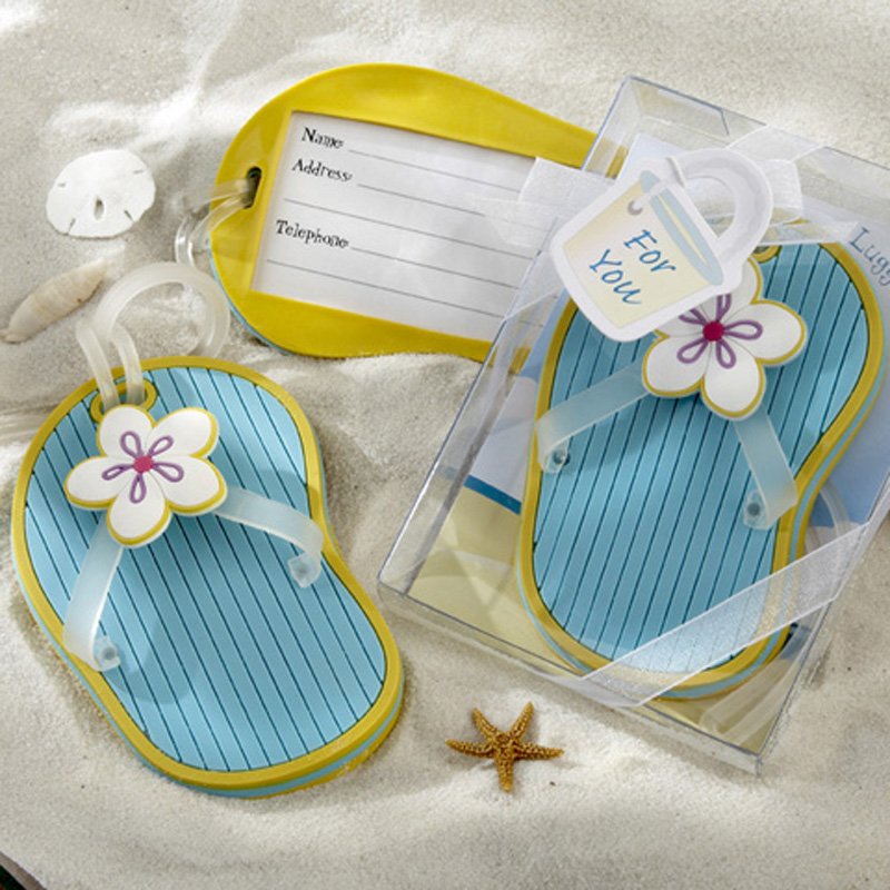 FREE SHIPPING Flip-Flop Luggage Tags in Beach Themed Box 50pcs/LOT LOWEST PRICE Wedding favors and gifts Bridal shower