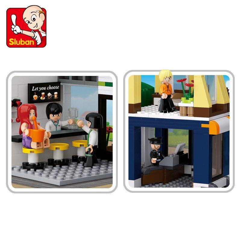 US $24 0 |Sluban 0575 Coffee shop Hotel Bricks Toys Sim City Forge Big  World Building Blocks Kids Set Model Gifts Compatible Friends-in Blocks  from