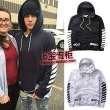 2016 NEW fashion off white Justin bieber trend street hip-hop letter water wash with hood sweatshirt men outwear jacket