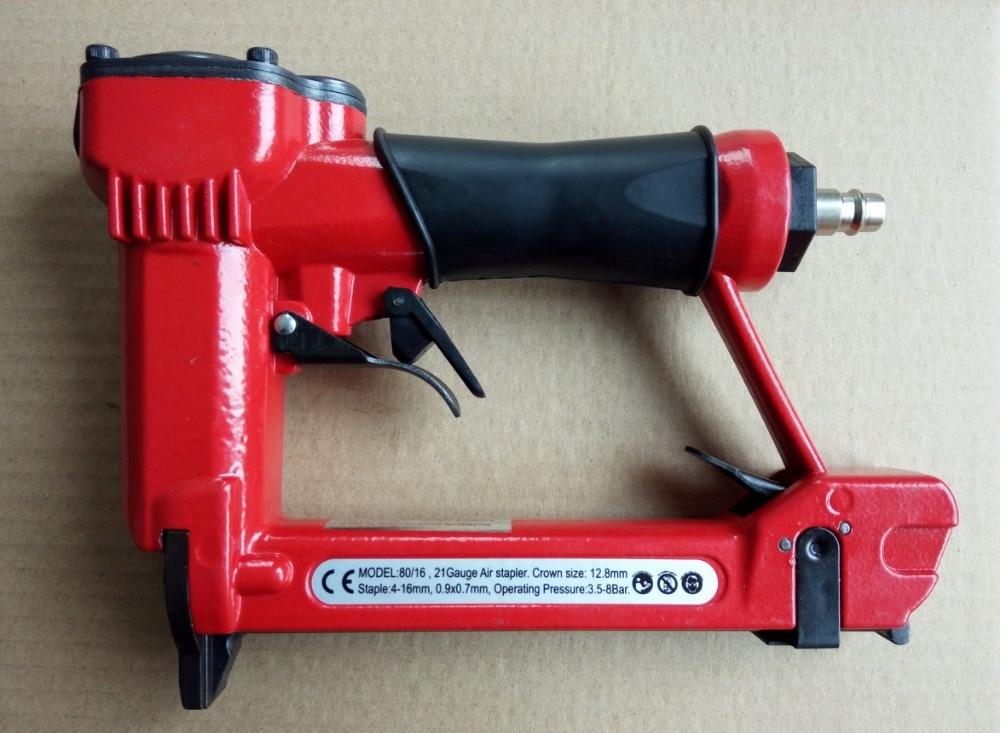 professinal high quality 1/2 air stapler 8016 pneumatic fine wire crown stapler gun, air nailer U style nails king air pneumatic type la 307 u overload protector high quality genuine