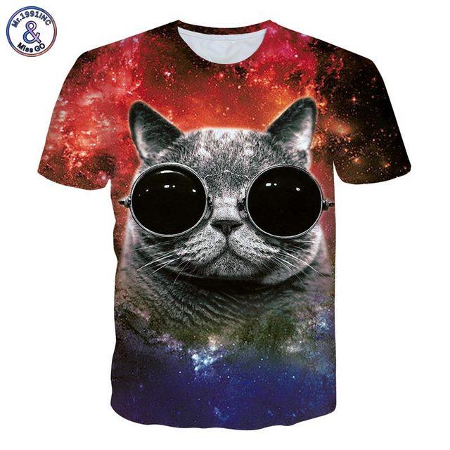 3D Galaxy cat t-shirt