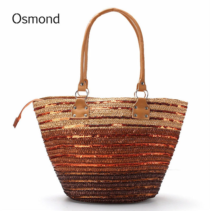 Osmond 2017 Brand Design Summer Style Straw Popular Weave Woven Tote Shopping Be