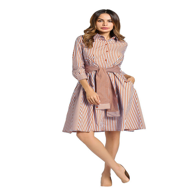 Fashion Women Muslim Long Sleeve Shirt Dress Spring Dress Gown New ...