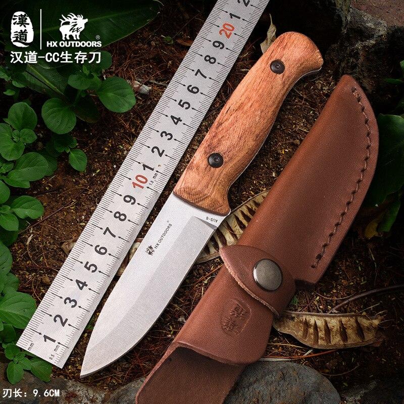 HX plein air TD-08 Camping survie couteau fixe lame de AUS-8 manche en palissandre couteau bushcraft couteau multi-outils avec gaine KYDEX