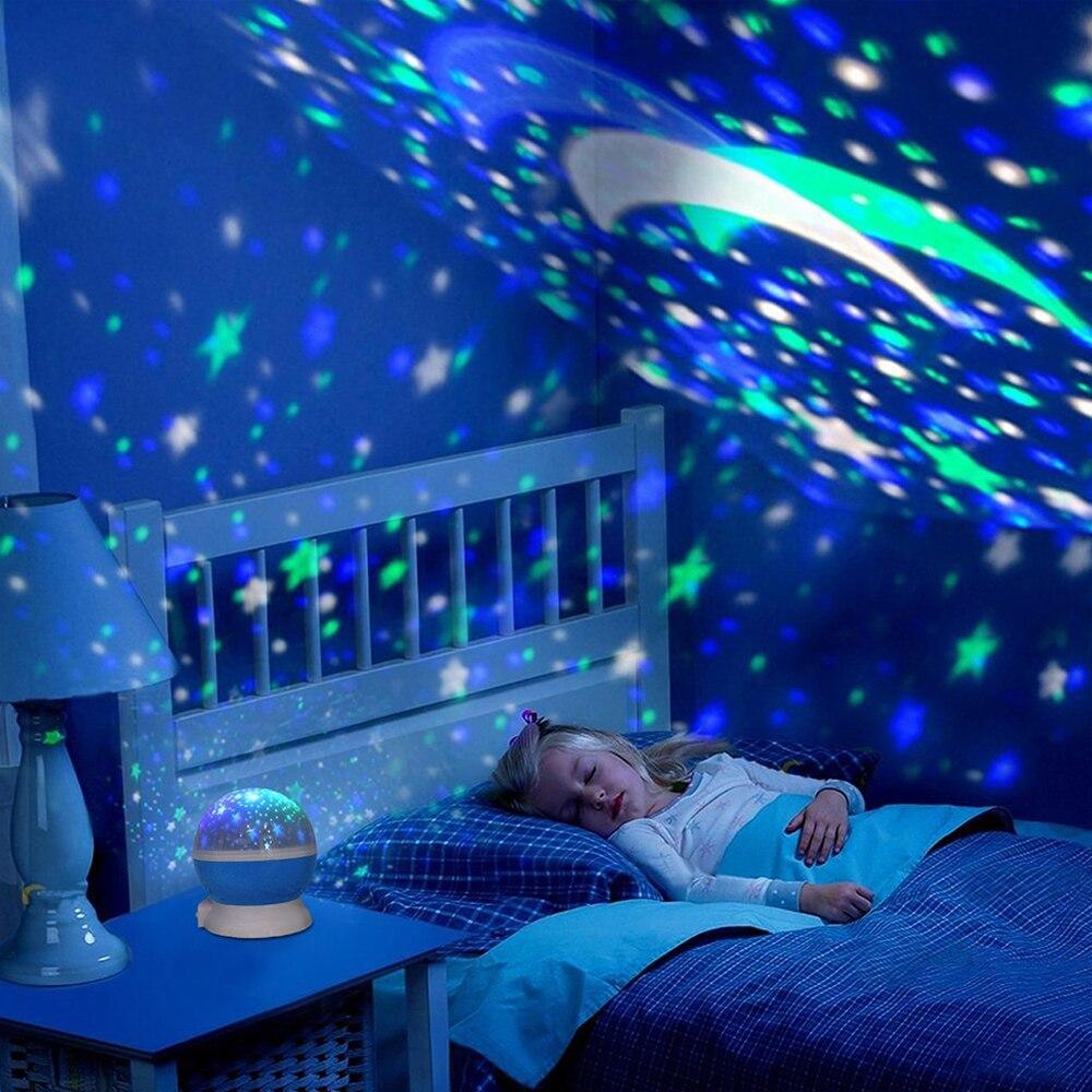 2018 nuevas estrellas cielo estrellado de luz LED proyector Luna novedad lámpara de mesa de noche batería USB noche luz para niños
