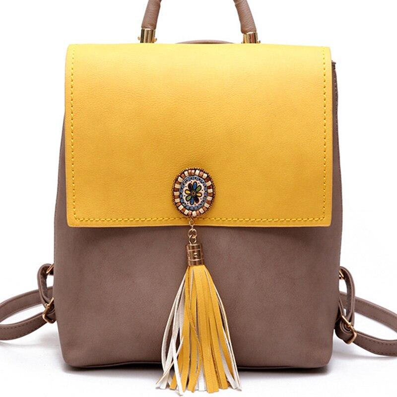 Women's Backpack Leather Mochila Feminina Schoolbag With Tas