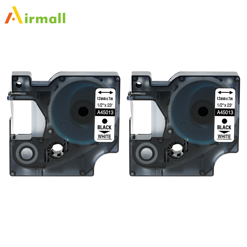Airmall 2 Pack Labeling Tape 45013 S0720530 Compatible Dymo D1 Label manager 12mm Black on White for Printer