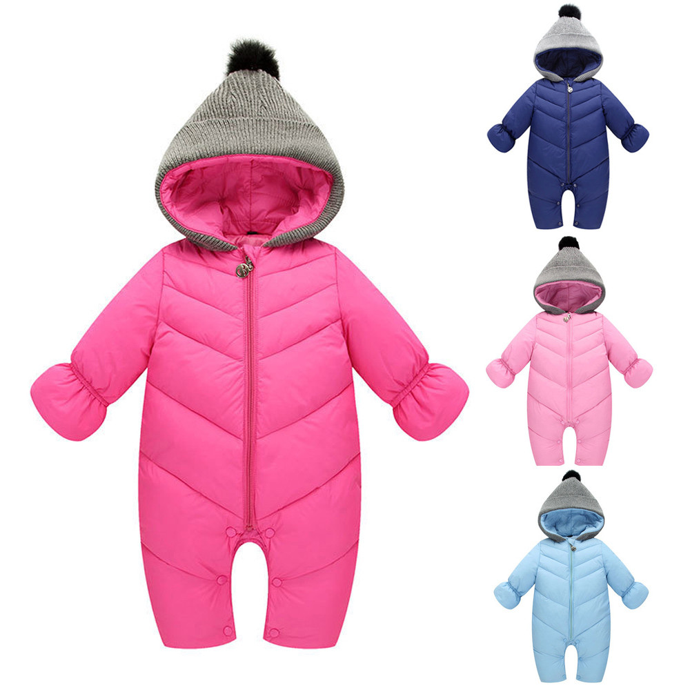Newborn Baby Girls Clothes Infant Baby Girl Boy Winter Hooded Jumpsuit Romper Thick Warm Clothes Dropshipping