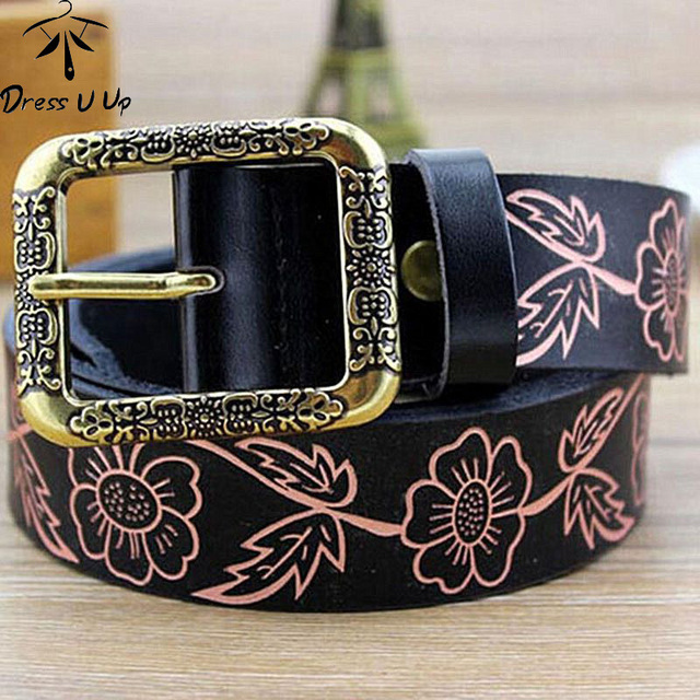 New Style Leather Embossed Leather Belt Woman Retro Fashion Women'S Belt Female Korean Pin Buckle Belts Women Belts