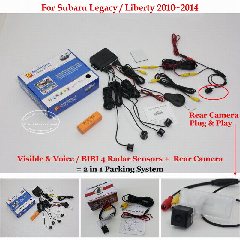 ФОТО For Subaru Legacy Liberty 2010~2014 - Car Parking Sensors + Rear View Back Up Camera = 2 in 1 Visual / BIBI Alarm Parking System
