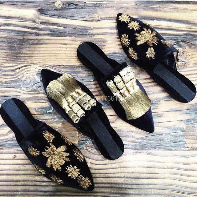 Дизайн моды Кистями Женщин Тапочки Сандалии Гладиаторов Летние Случайные Плоские Туфли Женщина Указала Носком Слайды Пляжная Обувь Мокасины