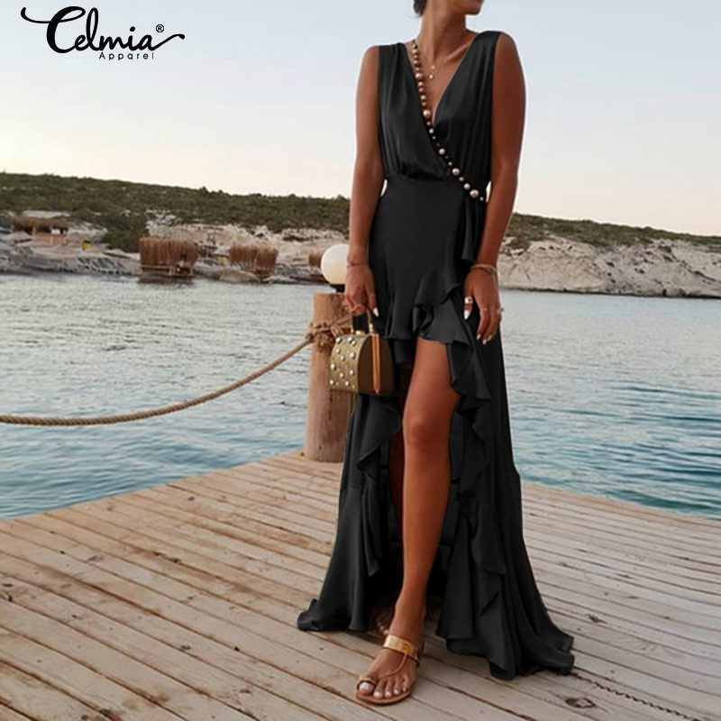 Celmia Sexy Ruffle Long Dress Women Backless Sundress 2019 Summer Irregular Hem Casual Solid Maxi Vestido Party Robe Femme S-5XL