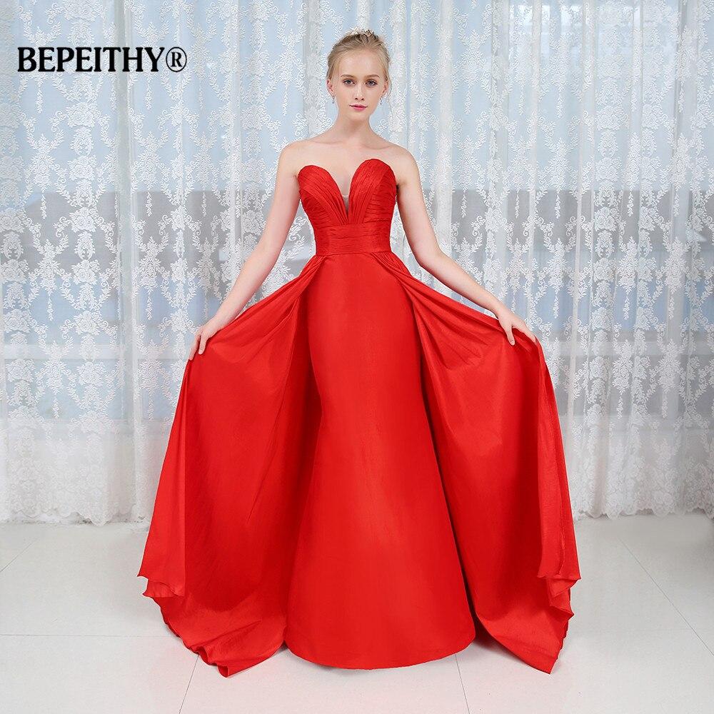 Long Evening Dress 2017 New Arrival Formal Dresses Vestido De Festa Longo Fast Shipping Red Taffeta