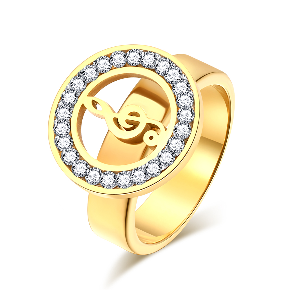 Fashion Crystal Musical Symbol Treble Clef Stainless Steel Ring