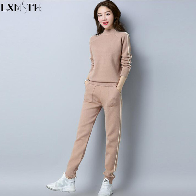 LXMSTH 2019 Autumn Winter Warm Knitted Pants Suit Women Leisure Stripe Patchwork Long Sleeve Sweater Pants Sets Two Pieces