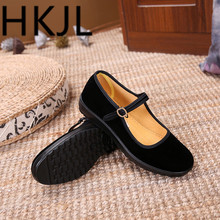 HKJL Chinese style Cloth shoes women flat with hotel work shoes flat anti-slip large size comfortable single shoes 2018 autumn new mother casual shoes work cloth shoes women flat antiskid comfortable fashion sneakers shoes plus size 42
