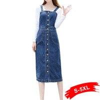 Autumn Plus Size Denim Sundress Button Up With Pockets 4Xl 5Xl 6Xl Women High Waist Denim Overalls Long Jeans Dress