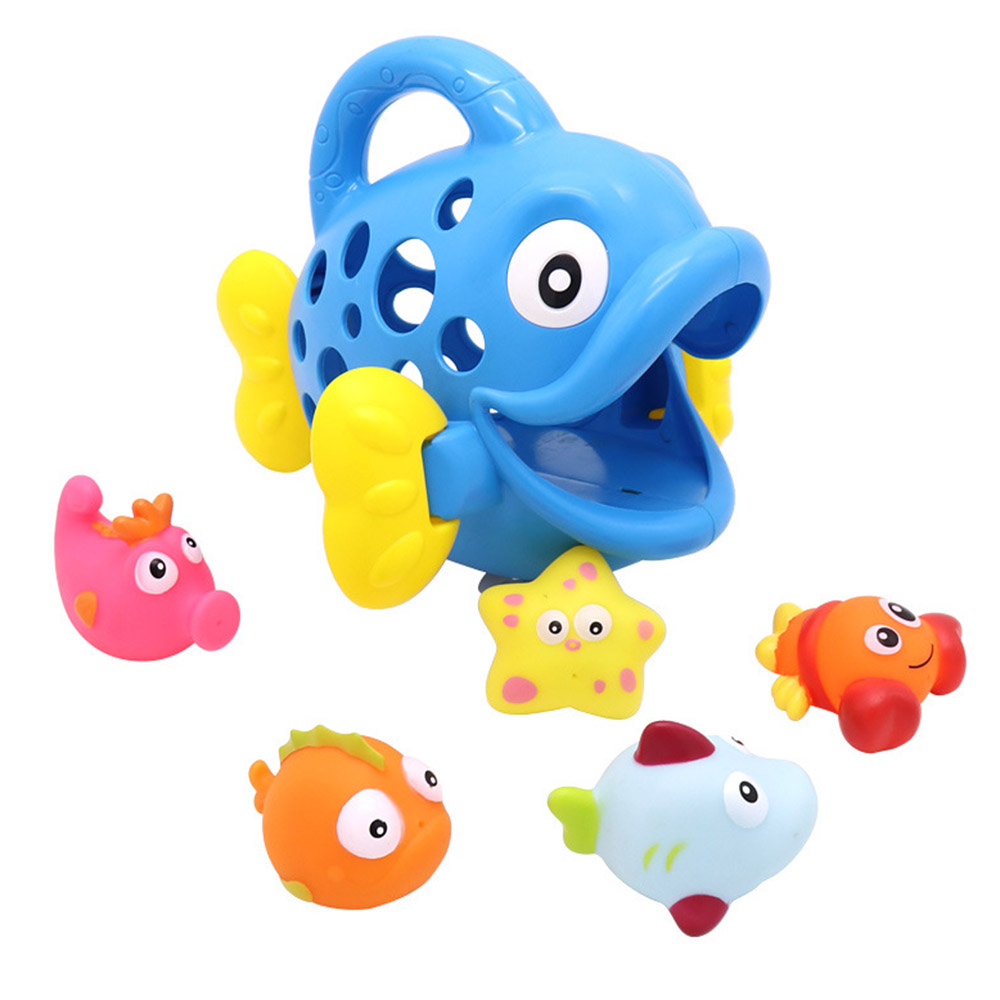 6pcs/set Baby Bathroom Shower Game Articles Beach Toys Cute Bubble Fish Model Water Spray Shower Game Toys