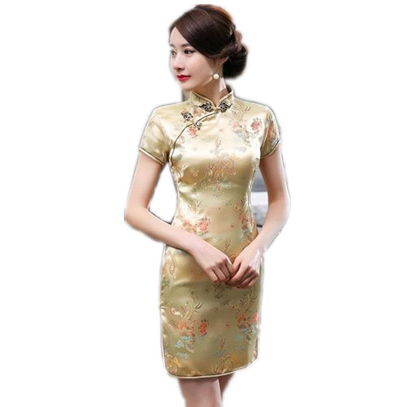 Chinese Style Gold Female Mandarin Collar Dress Vintage Satin Cheongsam Short Mini Qipao S M L XL XXL XXXL 4XL 5XL 6XL женское платье wm 2015 m l xl xxl xxxl 4xl 5xl 6xl r wyd005