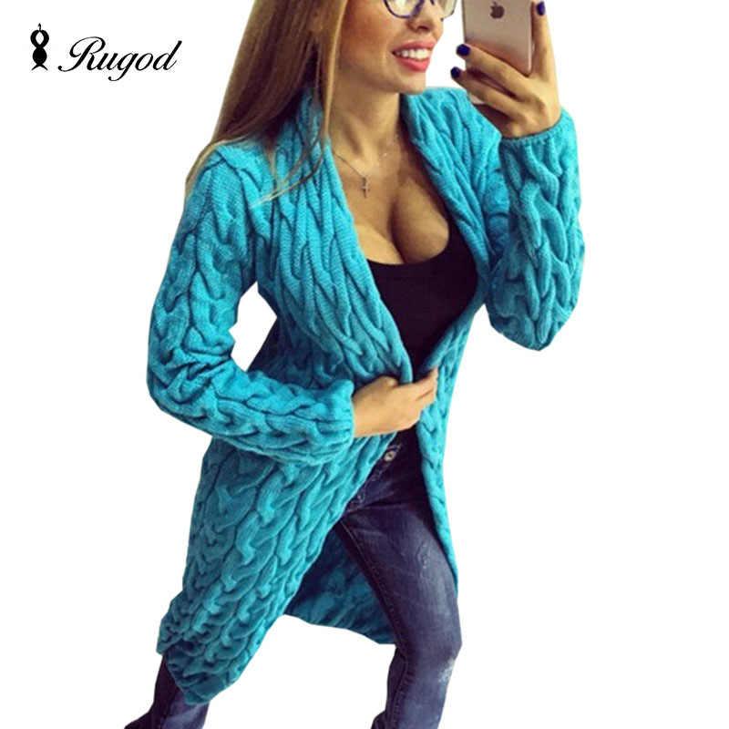 RUGOD 롱 가디건 니트 스웨터 여성 겨울 탑 여성용 캔디 컬러 특대 한국 스타일 패션 2020
