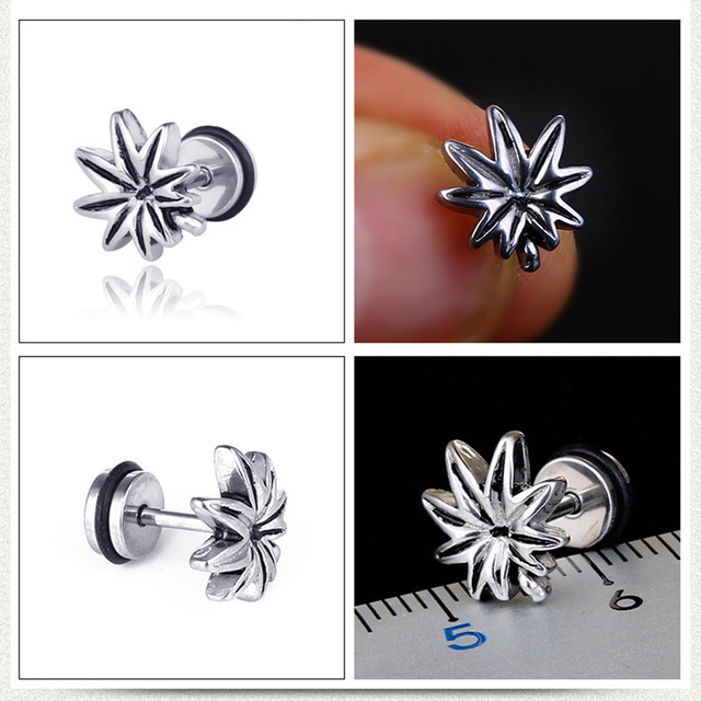 1 Pair 2PC Punk Style Titanium Steel Maple Cannabiss Leaf Earrings Male Female Stud Earring Men Trendy Party Jewelry 4