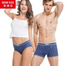 9e44a3ba8296d0 2018 High Quality New Couple Underwear Lovers Panties Men Boxer Shorts  Cotton Dots Sexy Women(