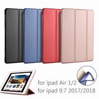 PFHEU حافظة لجهاز iPad 9.7 2017/2018 A1822 A1893 سيليكون لينة الظهر بو الجلود غطاء ذكي لباد الهواء 1/الهواء 2-في جرابات أجهزة لوحية وكتب إلكترونية من الكمبيوتر والمكتب على