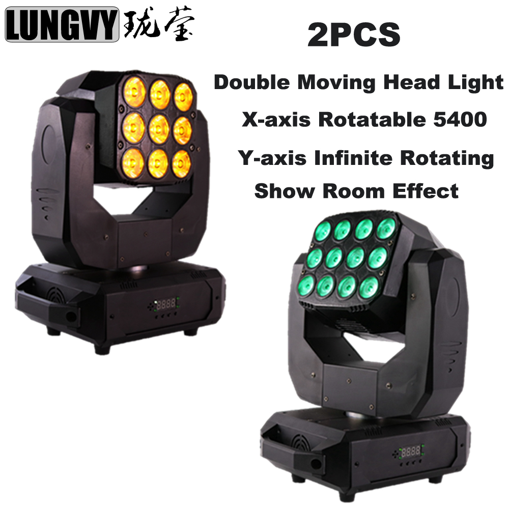 Free Shipping 2pcs/lot 12x10w RGBW Led Wash Light+9x3w Golden Beam Double-face Infinite Rotating Moving Light Stage DJ Lighting
