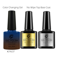 Soak Off UV LED Color Changing Gel Nail Polish With Top Base Coat Brown To Blue
