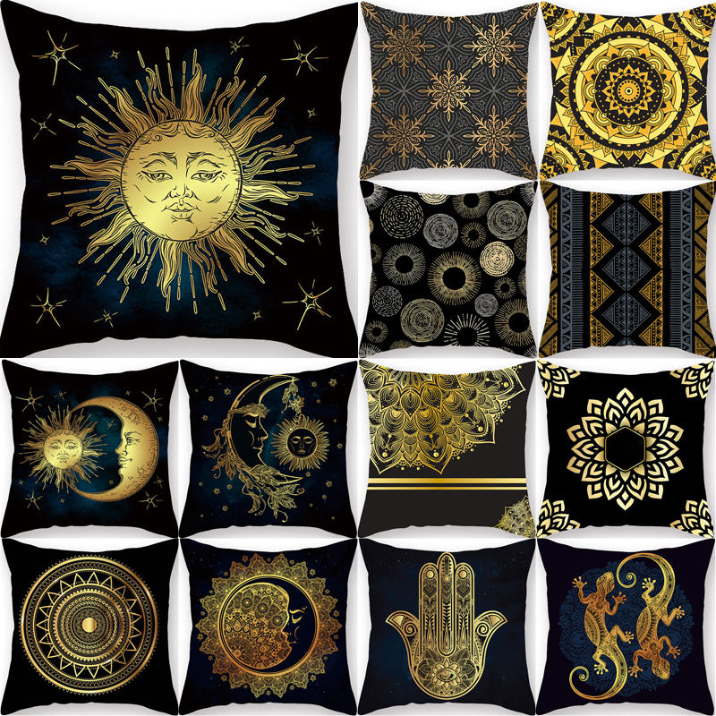 45*45cm Cushion Cover Decorative Pillow Case Gold Printed Creative Pattern Sofa Seat Car Pillowcase Soft Bed Kussenhoes 40821