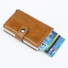 Credit Card Holder Automatic pasjeshouder PU Leather Aluminum Alloy card Wallet Anti-magnetic RFID bag wallet for men women