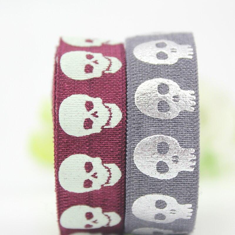 10 yards 16mm skull printed band puff print tape fold over elastic sewing ribbon for headband hair tie|sewing ribbon|elastic sewingsewing elastic tape - AliExpress