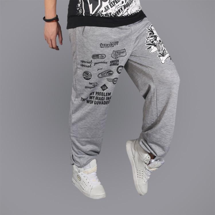 Spring Autumn Tide Men's Loose Hip-Hop Joggers Style Casual Pants 2 Color Elastic Mid-Waist Full-Length Track Men's Sweatpants