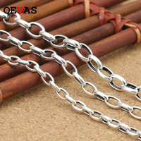 4mm/5mm/6mm 925 Sterling Sliver Link Chain Necklaces S925 Silver 45cm to 70cm Original Thai Silver Women Men Necklace Jewelry