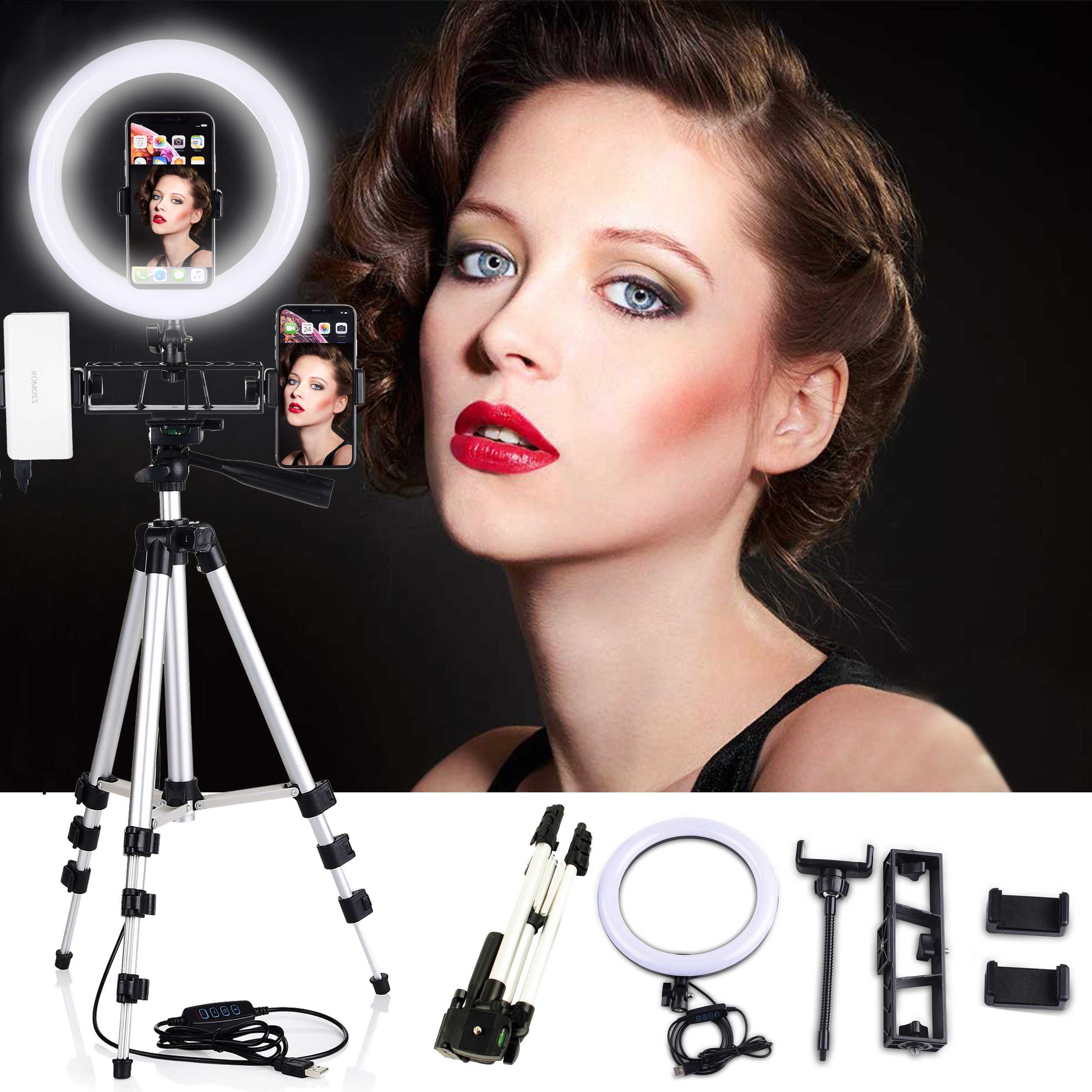 """10 """"anello di Luce con Bluetooth Selfie LED Ad Anello di Illuminazione 35-10 CENTIMETRI Treppiede Dimmerabile 3200 K- 5500K YouTube Cerchio Trucco Lampada"""