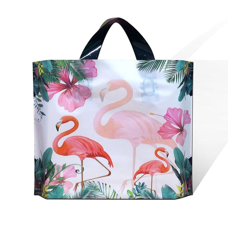 50pcs Flamingo Plastic Bag Party Gift Bag Clothing Shopping Bag