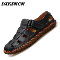 DXKZMCM Genuine Leather Men Sandals Male Summer Breathable Mens Shoes Beach Sneakers Sandles