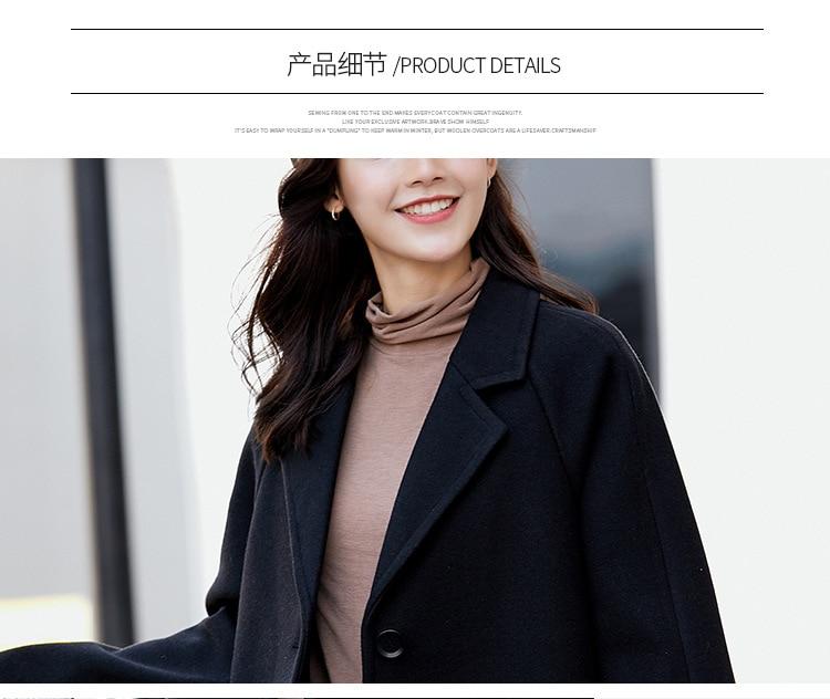 Femme noir Couleur Unique Nouveau Solide Femmes Coréenne Citron Long plum rouge Poitrine De Manteau Laine 2018 qqxnHwIfOz