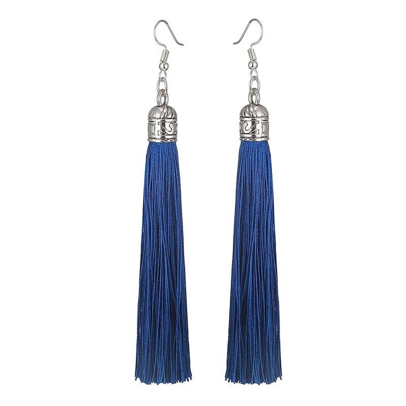 LOVBEAFAS Brand Tassel Earrings Women Fashion Jewelry Bohemian Drop Dangle Long Earrings Silk Fabric Ethnic Vintage Earrings
