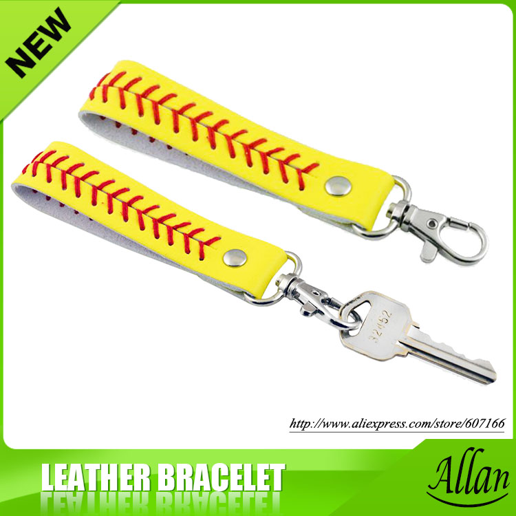 2019 เบสบอลพวงกุญแจ, fastpitch softball อุปกรณ์เสริมเบสบอลตะเข็บพวงกุญแจ 7 สี-ใน พวงกุญแจ จาก อัญมณีและเครื่องประดับ บน   1